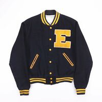 Vintage NEFF Made In USA Ohio Black Wool Bomber Varsity Jacket Mens Size Small