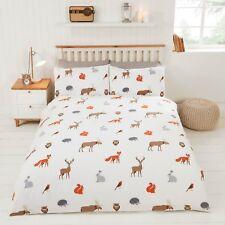 "Rapport ""Country Animals"" Owl Fox Deer Moose Rabbit Bird Duvet Cover Bedding Set"