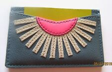 Fossil Card Case- Leather- Faded Indigo Blue- pink and white design