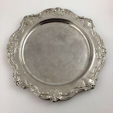 """Gorham Chantilly YC1344 15.5"""" Scalloped Round Tray Cocktail Silver Plate Tea"""