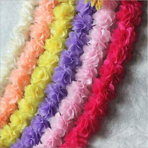 1-5 Yards Chiffon Flower Gathered Lace Trim DUY Dresses Decor