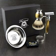 Men's Shaving Set With DE Safety Razor & Shaving Brush Badger In Simulated Horn