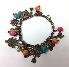 "Handmade Bracelet Charm 6.5"" Vintage Brass Metal  Flower Teal Pink Yellow Stone"