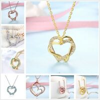 NEW 18K Gold / Rose Gold GF Women's Crystal Sapphire Love Heart Pendant Necklace