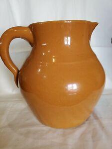 "VINTAGE LG PITCHER JUG UHL POTTERY  232 STONEWARE  BROWN 8.5"" Farmhouse Caramel"