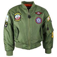 KIDS MA1 TOPGUN FLIGHT BOMBER JACKET 3-13 YEARS BOYS COAT US ARMY STYLE RAF