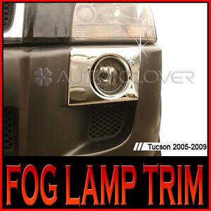 Chrome Fog Light Lamp Cover Garnish Molding Trim 2P For 2005 2009 Hyundai Tucson
