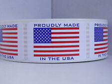 PROUDLY MADE IN THE USA MADE IN AMERICA USA FLAG 1.25X2 Sticker Label 250/rl