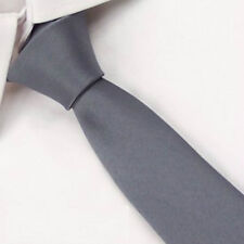 D.berite Men Gray Wedding Party Groom Solid  Skinny Silk Tie Slim Necktie SK01