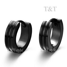 FASHION T&T BLACK Stainless Steel Hoop Earrings EH39D