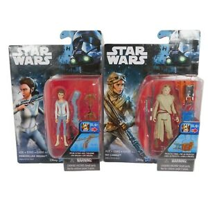 "Star Wars Lot of 2 Rey (Jakku) Princess Leia Organa Action Figure 3"""