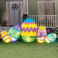 7 FT EASTER BUNNY EGG PATCH LIGHTED AIRBLOWN INFLATABLE YARD DECOR