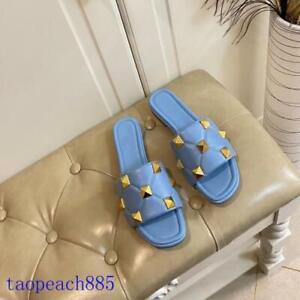 Women's Leather Low Heel Outdoor Slippers Open-toe Rivet Shoes Blue Summer Pink
