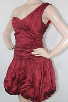 $388 WOMEN BCBG MAX AZRIA DRESS MIT6K200 One-shoulder Crinkled Taffeta Red SZ 8