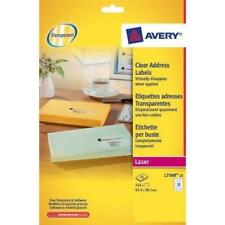 Avery Clear Labels L7560 25 sheets x 21 labels 525 total 63.5 x 38.1mm