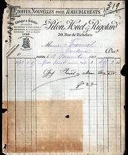 """PARIS (II°) BRODERIES ETOFFES d'AMEUBLEMENT """"PILON , HUET & RIGOTARD"""" en 1891"""