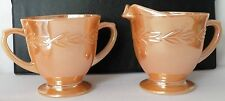 FINE COLLECTIBLE VINTAGE FIRE-KING SUGAR BOWL, CREAMER AND SAUCER IN SHINY PEACH