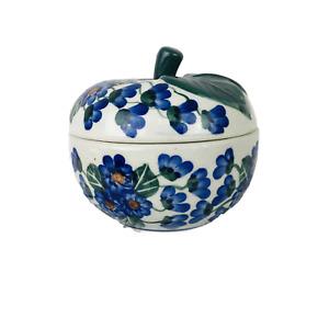 Vintage Polish Unikat Pottery Apple Baker Dish w/ Lid Blue Green Flowers Signed