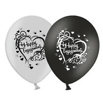 "Engagement - Heart - 12"" Wedding Black & Silver Latex Balloons pack of 12"
