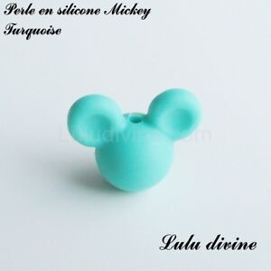 Perle en silicone ronde Mickey, silicone alimentaire : Turquoise