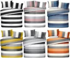 Stripe Reversible Duvet Cover Bedding Set 3 size's Grey,Ochre,Orange,Blush, Blue