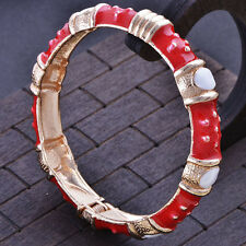 Fashion jewelry gold plated Red Enamel bangle charms bracelet free shipping