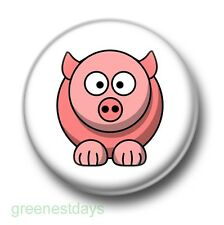 Cute Cartoon Pig 1 Inch / 25mm Pin Button Badge Pigs Bacon Oink Sty Farm Animals