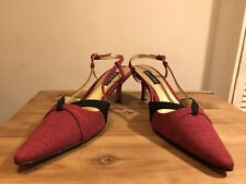 JACQUES VERT Cerise Canvas Wedding Evening Shoes Heels! UK6.5! New! Only