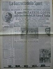 FAUSTO COPPI VINCE 28° GIRO D'ITALIA LA GAZZETTA DELLO SPORT  10/6/1940