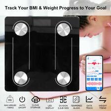 Bluetooth Körperwaage Fitnesswaage Personenwage Gewicht Waage BMI Analyse 180KG