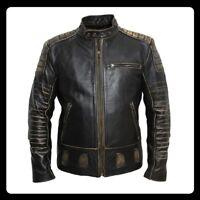 Mens Motorcycle Biker Vintage Distressed Cafe Racer Black Genuine Leather Jacket