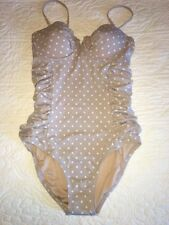 NWT J Crew Polka Dots Ruched Underwire Swimsuit Sz 8  Gray 77238 Sold Out!