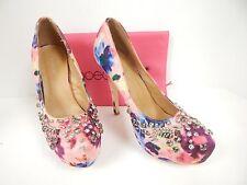 "Shoedazzle Women's Diandra Pink 6"" Stiletto Jeweled Platform Pump Size 9 M"