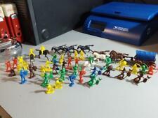 51 pc Vintage 60's Miniature Plastic Cowboys Indians Hong Kong Lot Cake Toppers