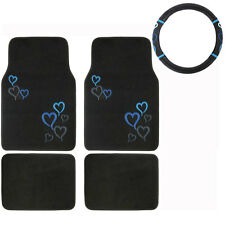 New 5pc Set Blue Hearts Car Truck Front Rear Floor Mats & Steering Wheel Cover