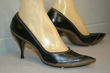 8 Vtg 50s Shoe Black Taupe Wrapped Sole Leather Pin Up Spike Heels 1950s 60s
