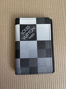 100% Louis Vuitton White/Grey Damier Graphite Giant Pocket Organizer/Wallet