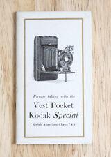 VEST POCKET KODAK SPECIAL (ANASTIGMAT F/4.5) INSTRUCTION BOOK/cks/200521