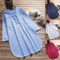 Women Oversize Bohemia Casual Top Shirt Button Half Sleeve Cotton Linen Blouse L