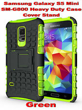 Green Samsung Galaxy S5 Mini G800 Strong Heavy Duty Tradesman Case Cover Stand