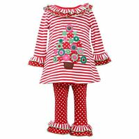 Girl 2T-4T Red Pink Green White Christmas Tree Tunic Top Legging Outfit Clothes