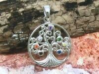 Chakra Baum des Lebens 925 Echt Silber Anhänger 7 Steine Ø 2cm Kelten Lebensbaum