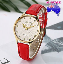 Wholesale Red Leather Crystal White Dial Quartz Watch Women Lady Wrist Watch