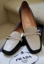 Prada two tone black & beige leather flat shoes size 37 (7US) Italy w/dust bags