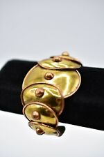 Betancourt Vintage Brass Copper  Wide Cuff Bracelet Hecho Mexico Signed Bin2