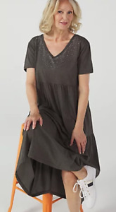 Frank Usher Embellished Sparkle Animal Print Jersey Maxi Dress, S/M, Grey