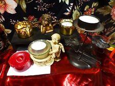 lot  de bougeoirs variés ,bougies pour  belle table ,angelots  décor noel
