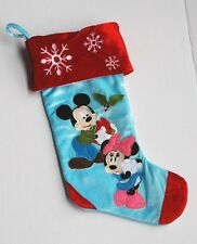 New listing Disney Mickey Mouse Minnie Christmas Stocking Blue Red Cuff