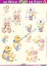 Morehead Bambini & Bunny Die Cut 3D DECOUPAGE FOGLIO CARTA fare nessun taglio REQ