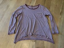 Women's VOLCOM long sleeve shirt, size S, burgundy/white stripe, VGUC